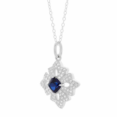 Womens Lab Created Blue Sapphire Sterling Silver Flower Pendant Necklace