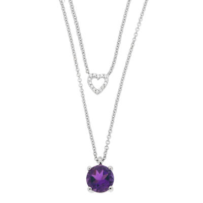 Womens Diamond Accent Genuine Purple Amethyst Sterling Silver Necklace Set