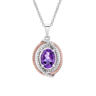 Womens 1/10 CT. T.W. Genuine Purple Amethyst 14K Gold Over Silver Oval Pendant Necklace