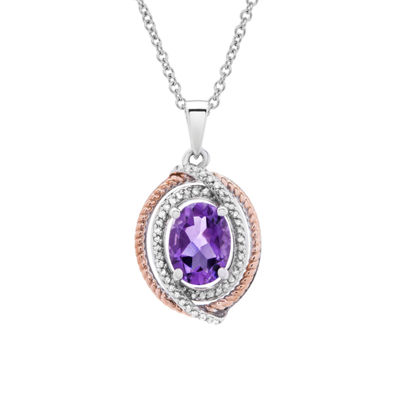 Womens 1/10 CT. T.W. Genuine Purple Amethyst 14K Gold Over Silver Oval Pendant