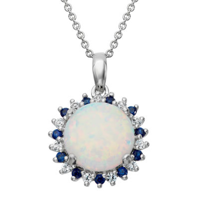 White Opal Round Sterling Silver Pendant
