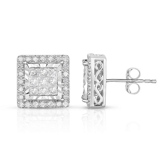 TruMiracle® 1 CT. T.W. Princess White Genuine Diamond 10K Gold Stud Earrings