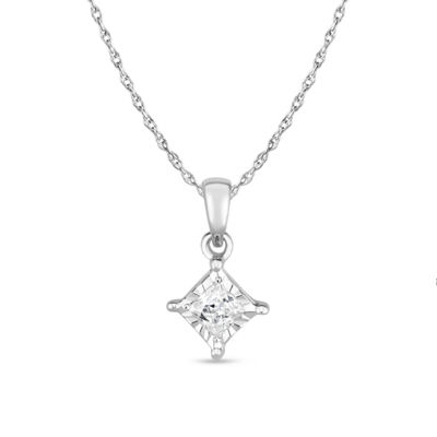 TruMiracle® Womens 1/7 CT. T.W. White Genuine Diamond 10K Gold Pendant Necklace