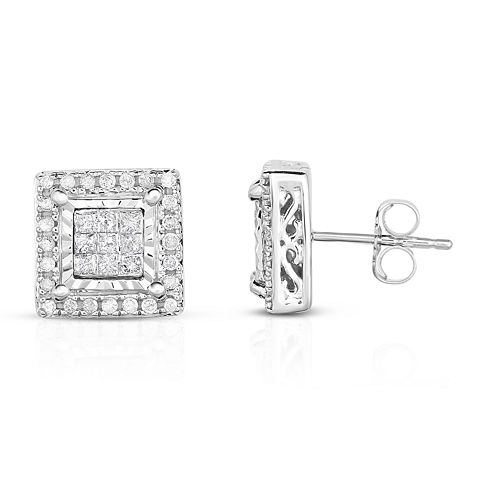 Trumiracle True Miracle 1/2 CT. T.W. Princess White Diamond 10K Gold Stud Earrings
