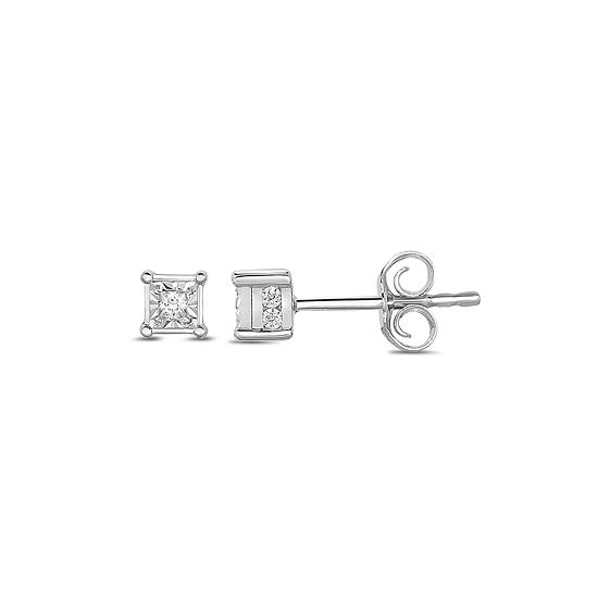 Tru Miracle 1 6 Ct Tw Genuine White Diamond 10k Gold 4mm Stud Earrings