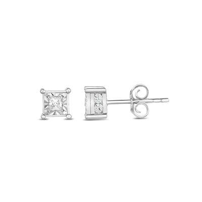 True Miracle 1/2 CT. T.W. Genuine White Diamond 10K Gold 5mm Stud Earrings