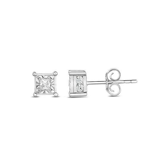 Tru Miracle 1/2 CT. T.W. Genuine White Diamond 10K Gold 5mm Stud Earrings