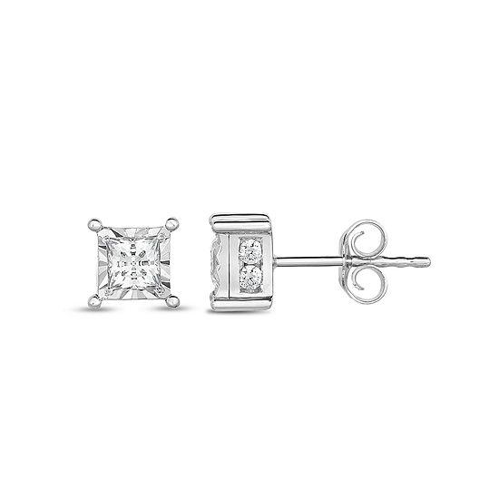 Tru Miracle 1 CT. T.W. Genuine White Diamond 14K White Gold 5.1mm Stud Earrings