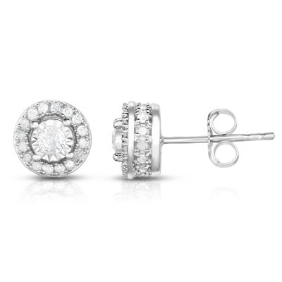 Trumiracle True Miracle 1/2 CT. T.W. Genuine White Diamond 10K Gold 7.3mm Stud Earrings