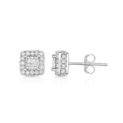 Trumiracle 1/2 CT. T.W. Princess White Diamond 10K Gold Stud Earrings