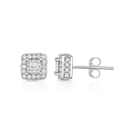 T W Princess White Diamond 10k Gold Stud Earrings