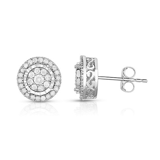 TruMiracle® 1/2 CT. T.W. Round White Genuine Diamond 10K Gold Stud Earrings