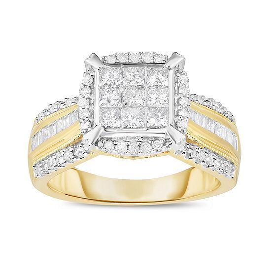 Womens 1 CT. T.W. Genuine Diamond 10K Gold Engagement Ring