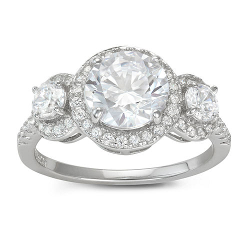 Diamonart Womens 3 CT. T.W. Lab Created White Cubic Zirconia Sterling Silver 3-Stone Ring