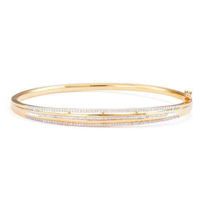 Womens 1/2 CT. T.W. White Diamond 14K Gold Over Silver Bangle Bracelet