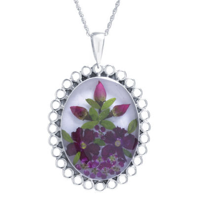 Womens Sterling Silver Oval Pendant Necklace