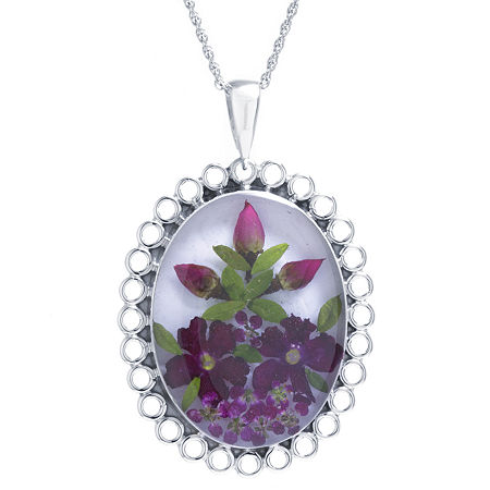 Womens Sterling Silver Oval Pendant Necklace, One Size