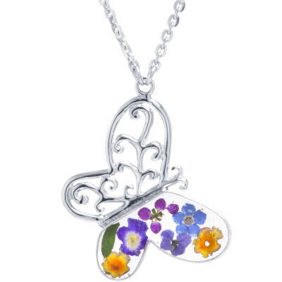 Womens Sterling Silver Butterfly Pendant Necklace