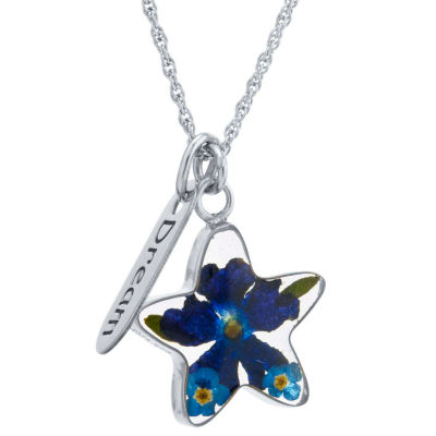 Womens Sterling Silver Star Pendant Necklace