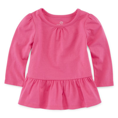 Okie Dokie Solid Long Sleeve T-Shirt-Baby Girl NB-24M