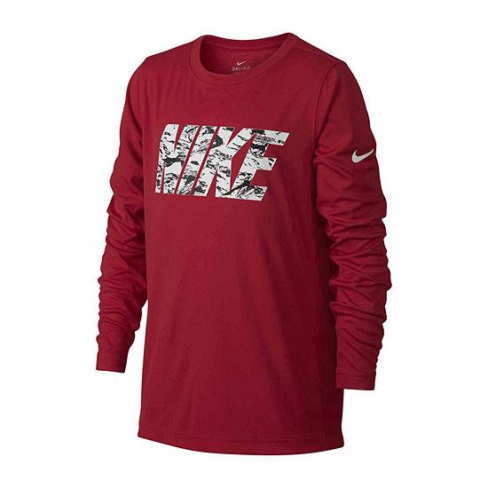 Nike Boys Crew Neck Long Sleeve Moisture Wicking T-Shirt-Big Kid