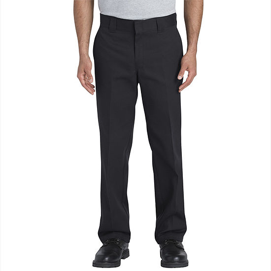 Dickies Mens Mid Rise Slim Fit Flat Front Pant