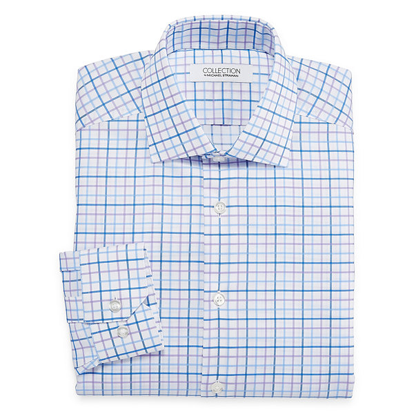 Collection by Michael Strahan Wrinkle-Free Cotton Stretch Long Sleeve Dress Shirt Woven Grid