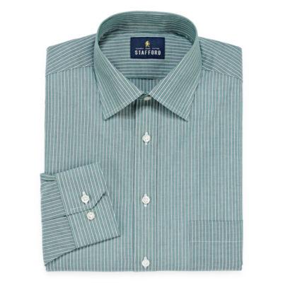 Stafford Travel Easy-Care Broadcloth Long Sleeve Broadcloth Stripe Dress Shirt