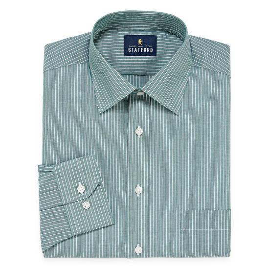 Stafford Travel Easy-Care Long Sleeve Broadcloth Stripe Dress Shirt
