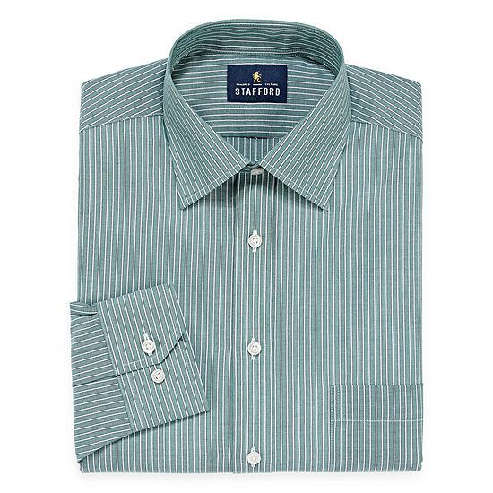 Stafford Travel Easy-Care Long Sleeve Broadcloth Stripe Dress Shirt