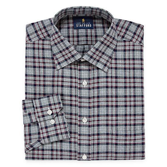 Stafford Mens Spread Collar Long Sleeve Wrinkle Free Dress Shirt