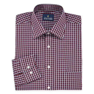 Stafford Travel Easy-Care Broadcloth Long Sleeve Broadcloth Plaid Dress Shirt
