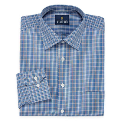Stafford Stafford Travel Easy-Care Broadcloth Long Sleeve Broadcloth Checked Dress Shirt