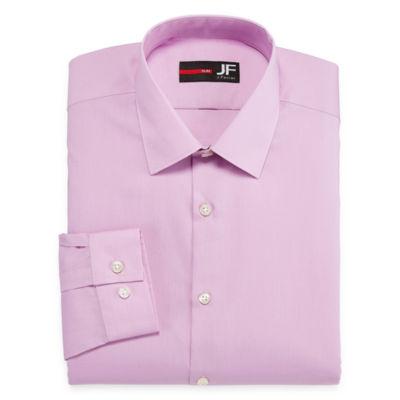 JF J.Ferrar Easy-Care Solid Long Sleeve Woven Dress Shirt - Slim