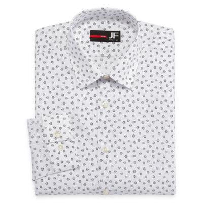 J.Ferrar Easy-Care Stretch Long Sleeve Broadcloth Floral Dress Shirt - Slim