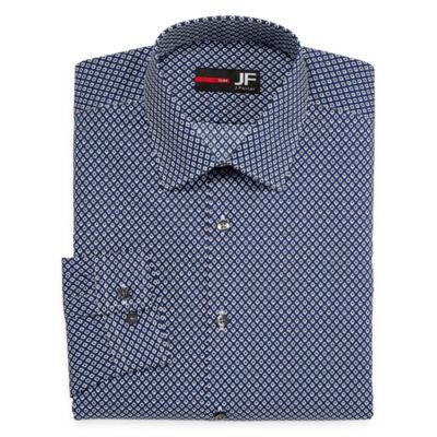 JF J.Ferrar Easy-Care Stretch Long Sleeve Broadcloth Diamond Dress Shirt - Slim