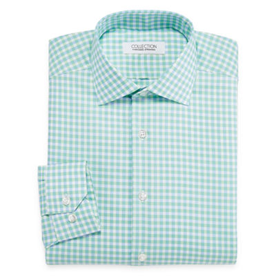 Collection by Michael Strahan  Wrinkle-Free Cotton Stretch Mens Spread Collar Long Sleeve Wrinkle Free Stretch Dress Shirt