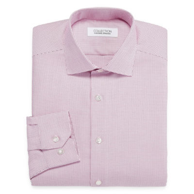 Collection by Michael Strahan  Wrinkle-Free Cotton Stretch Long Sleeve Woven Grid Dress Shirt
