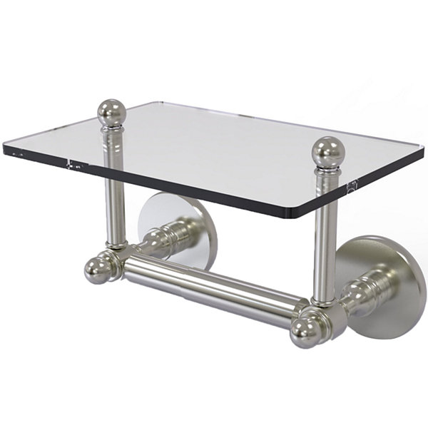 Allied Brass Prestige Skyline Collection Two Post Toilet Tissue Holder with Glass Shelf