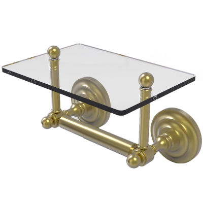 Allied Brass Que New Collection Two Post Toilet Tissue Holder with Glass Shelf