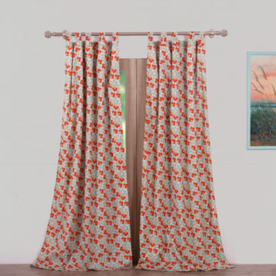 Greenland Home Fashions Terra Blossom 2-Pack Tab-Top Curtain Panel