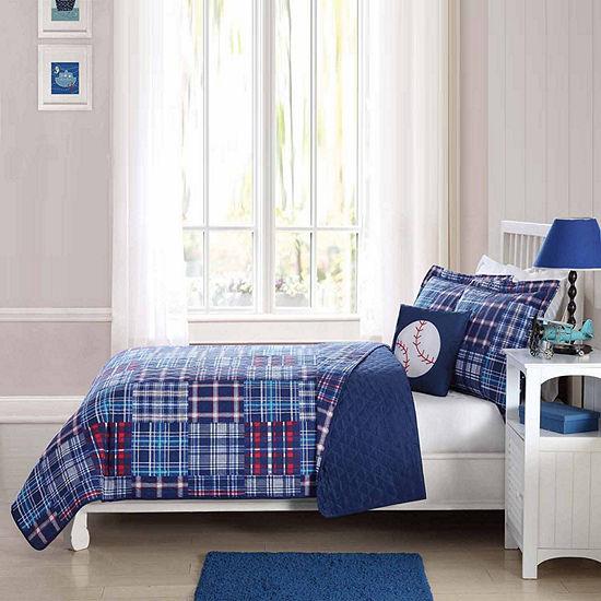 Laura Hart Kids Navy Plaid Patch Quilt Set With Decorative Pillow