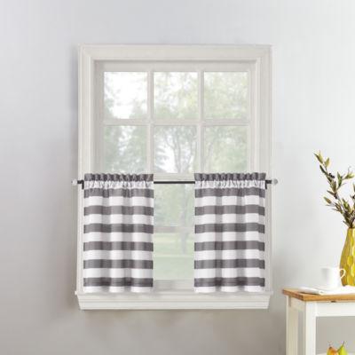 Roe Stripe Rod-Pocket Window Tiers
