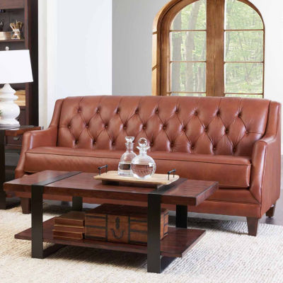 Baron Curved Slope-Arm Leather Sofa