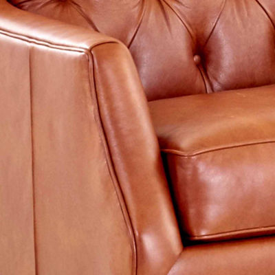 Baron Curved Slope-Arm Leather Chair