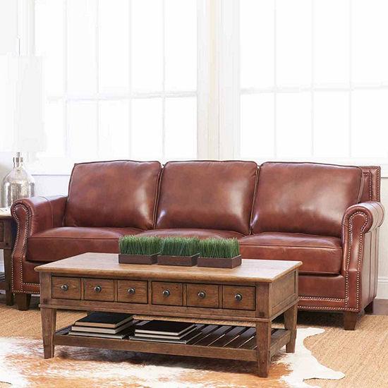 Yule Roll-Arm Leather Sofa