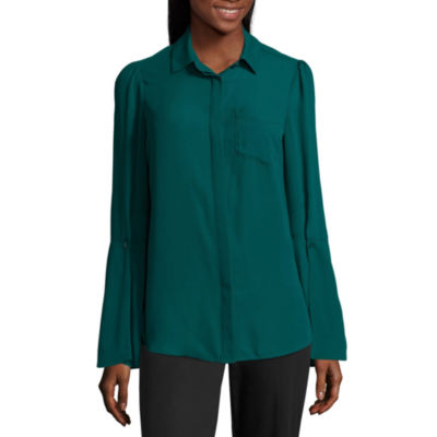 Worthington Bell Sleeve Button Front Blouse