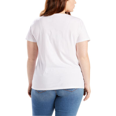 Levi's Short Sleeve Crew Neck T-Shirt-Womens Plus