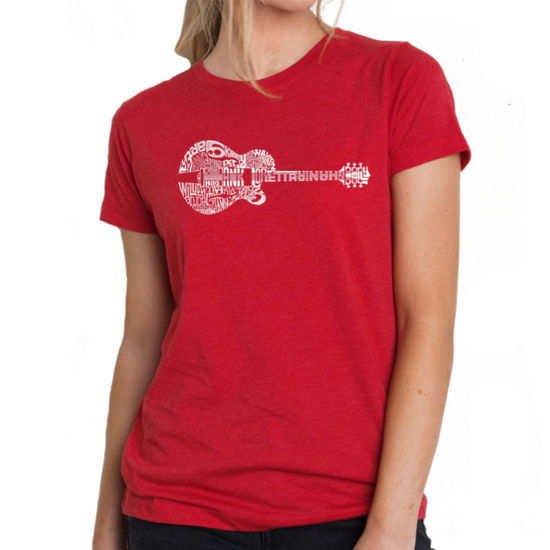 Los Angeles Pop Art Women's Premium Blend Word ArtT-shirt - Country Guitar