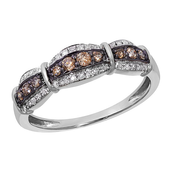 Womens Diamond Accent Genuine Brown Diamond 10K White Gold Anniversary Band